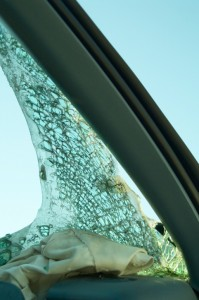 Smashed windshield.